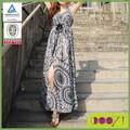 2014 nuevo estilo de servicio del OEM imprimió el vestido largo del diseño de la señora de la gasa de la tradicional marroquí vestido