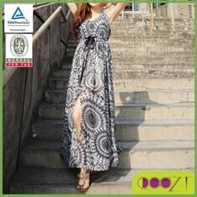 2014 neuen stil oem Service gedruckt langes kleid design dame chiffon traditionellen marokkanischen kleid