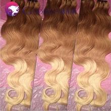 3 tone ombre hair extensions 30#/27#/613# peruvian virgin hair body wave hair bundles 3pcs lot human hair weave free shipping