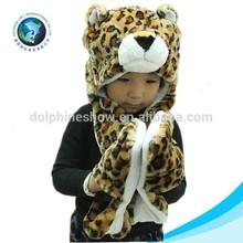 New hot selling plush girls winter cap animal cap leopard fox fur hats