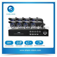 low price 8ch 700tvl cmos bullet camera security system dvr kit, cctv outdoor camera system
