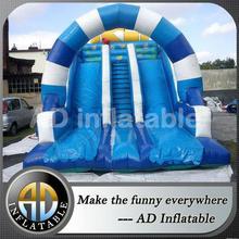 Double lane PVC blue arch inflatable slide