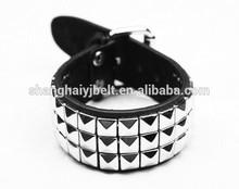 Fashion black wide bracelet metal pyramid bracelet YJ-BR0036