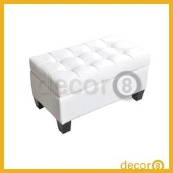 Modern Home Furniture Wood Legs Leather Foot Stool / Storage Ottoman