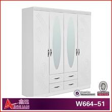 wooden white silk wardrobe