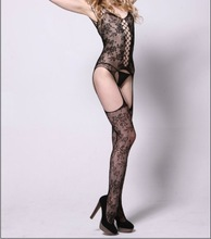 Super Halter Neck T Back floral mesh Lace Garter Belt Body stocking sexy body stocking