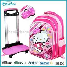 Kids Hot Sell Cute Hello Kitty Wheel School Bag.Detachable Trolley school Bag