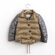 TAD19006 2014 winter new children's shiny collar stitching loose girls down jacket