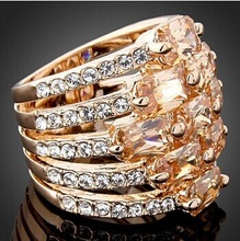 2015 low MOQ Gracious crystal ring Multulayer zircon rose gold ring
