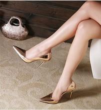 Metal mirror PU cut out sexy cusp most popular waterproof platform thin heels women's high heels sandal shoes(M40028C)
