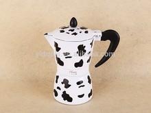 Hot new product china supplier cow pattern aluminium irish coffee maker set