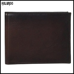 High quality brownness genuine leather thin wallet