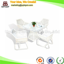 (SP-OT135) Garden furniture outdoor woven white wrought iron table and chairs