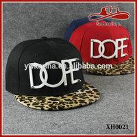 Plain Print Fashion Tiger Leather Brim With Big Logo Snapback Hats