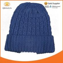custom winter plain fold up knitted beanie hats
