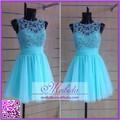 Anti static luz azul japonês curto de tule Beading coberto para Prom Dress