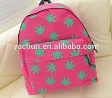Fashion Hot Japan zipper original WEED, hemp leaf green leaves backpack backpack bag