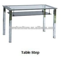 Square tube chrome leg glass top dining table