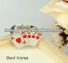 2012 fashion diy poker design A,K,Q,J words adjustable finger ring