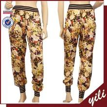 2015 new fashion elastic waist flower print women trousers