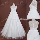 2015 New Coming Modern Style Pearls Beaded Designer Empire Waist Tulle Wedding Dress For Pregnant Women