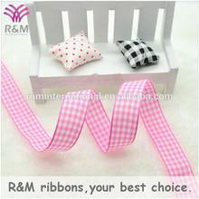 Ruibeis pink and white checkered wholesale pink plaid ribbon