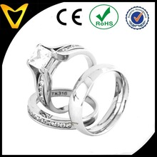 Latest Arrival Fashion Jewelry His & Hers 3 PCS Womens Stainless Steel Engagement Ring Set w Mens Matching Band
