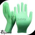Puのナイロン手袋緑srsafety/良い多孔質puのナイロン手袋