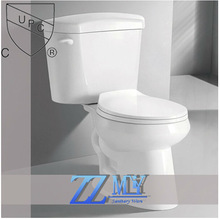 bathroom UPC sanitary ware siphonic two piece wc ceramic toilet with side hand lever flushing mechanism