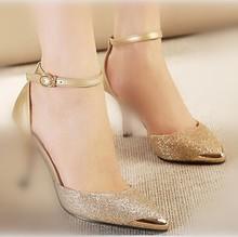 Metal head pointed PU cut out sexy cusp buckle waterproof platform thin heels women's high heels sandal shoes(M40065C)