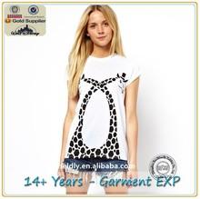 Europe Top Tees New Fashion T-Shirt, Women Punk T Shirt Women Cotton Top Tees, Tops Short Sleeve Giraffe Animal Print T-Shirt