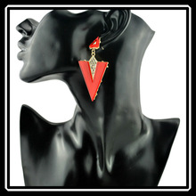 2015 Hottest Candy Color European Victorian Style Alloy Acrylic Triangle Shaped Earrings NZJ0219