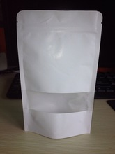 white kraft paper pouch with Zipper and window