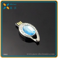 Free sample new design fashion Valentine's day gift blue tear crystal mini usb flash drive with logo