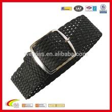 20mm Black Woven Braided Perlon Mens Watch Strap