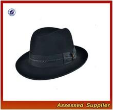 XJ0747/Black fedora hat with zipper /fashion wool felt fedora hat