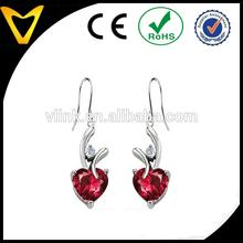 Hot women 8mm Heart Shape Hanging Hook Love Earrings
