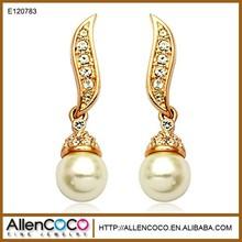 Korea Fashion Hot Sale Angle Wings Shape Crystal Freshwater Pearl Charm Drop Earrings