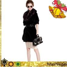 Half sleeve women wool coat with fox fur collar