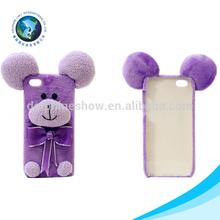 New design mobile phone shell plush purple bear mobile phone case