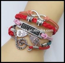 Ebay and Aliexpress Supplier!!! Yiwu Wholesale Cheap Stocking Animal Charm Best Friend Leather Bracelet