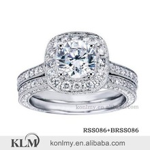 WSS026 luxury micro pave wedding jewelry sets AAA CZ diamond ring China factory direct sale silver ring