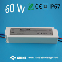 Plastic housing 24V 2.5A 60W constant voltage led driver, waterproof led power supply 12v, led transformer with CE&RoHS