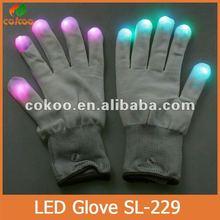 New Rainbow Flashing Fingertip LED Gloves Unisex Light Up Glow Stick Gloves