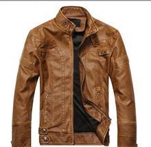 Men's leather motorcycle coats jackets washed leather coat