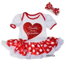 Baby Red Heart Daddy is my Valentine White Polka Dots Bodysuit Pettiskirt