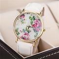 modelo mais recente moda de couro branco rosa impresso relógios fotos de meninas moda relógios