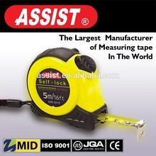 Co-molded tape measure assist nylon blade yellow or light chrome auto-lock TPR case steel tape measure