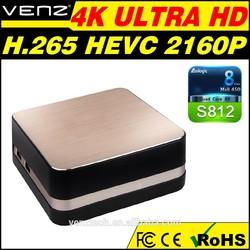 Amlogic s812 quad core android tv box 4k tv box h.265 bluetooth4.0 DDR2GB, flash 16GB xbmc fully loaded