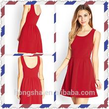 On Alibaba.com Manufacturer Women Summer Textured Fit and Flare Round Neckline Dress HSD8196